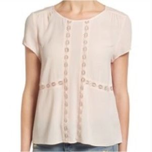 Nordstrom Hinge Short Sleeve Blush Blouse